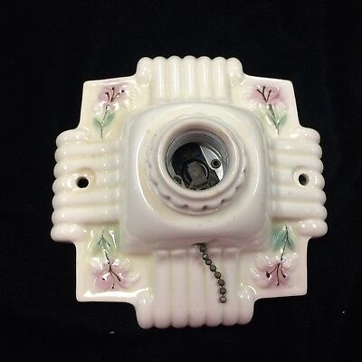 Vintage Art Deco Porcelain Electric Light Fixture Floral Single Bulb