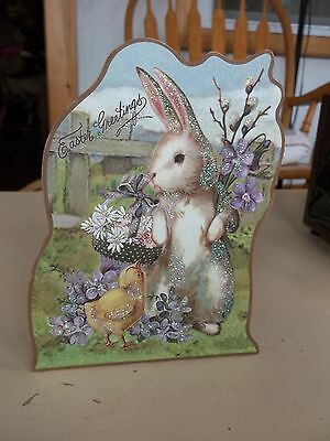 Gllittery Easter Greeting Standing Bunny Musical Box