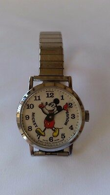 "Vintage ""Pie Eyed"" Mickey Mouse Watch, Mechanical Wind, Swiss Made Bradley, RUNS"