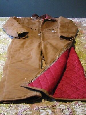 Mens carhartt 42 regular Heavy Canvas coveralls NEW w/o tags  red quilted lining