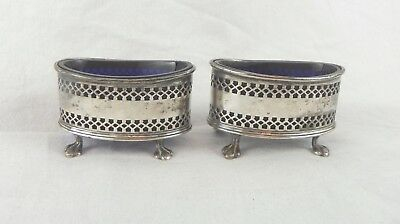 Pair of Salt Cellars. English Sterling Silver and Cobalt Liners. Birmingham 1923