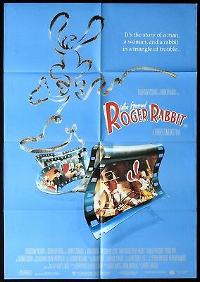 WHO FRAMED ROGER RABBIT Original ONE SHEET Movie poster Rare Bob Hoskins