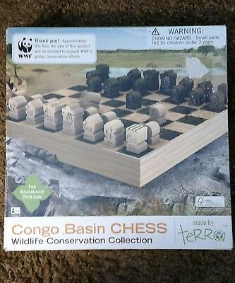 World Wildlife Fund WWF Wooden Congo Basin Chess Game made by Terra