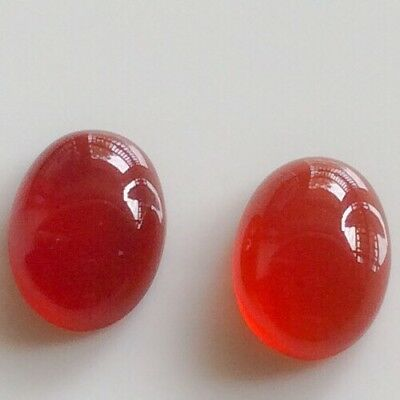 2 PC OVAL CUT SHAPE NATURAL CARNELIAN 8x6MM CABOCHON LOOSE GEMSTONE