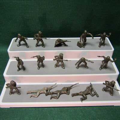 VINTAGE LOT OF 15 1960's MARX 60 MM US MILITARY ARMY MEN SOLDIERS