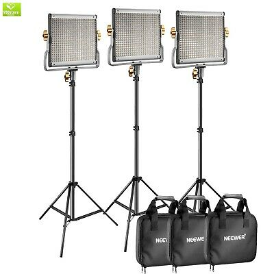 Neewer 3 Packs Dimmable Bi-color 480 LED Video Light and Stand Lighting Kit Incl