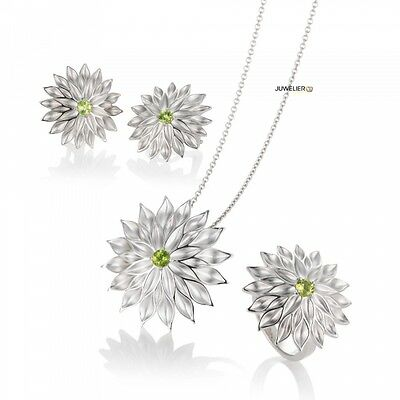 Jewellery Set in 925 Silver Bicolour with Real Peridot, 98_6013 Made by Breuning
