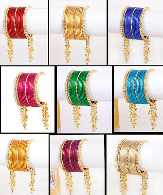 Multi Color Set Of 12 Bangles Indian  Partywear Bridal Bollywood Ethnic Fashion