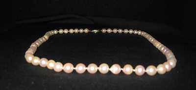"Old Antique Natural looking Cultured 8/9mm Pearls Necklace 25"" Silver VTG A+ 52g"