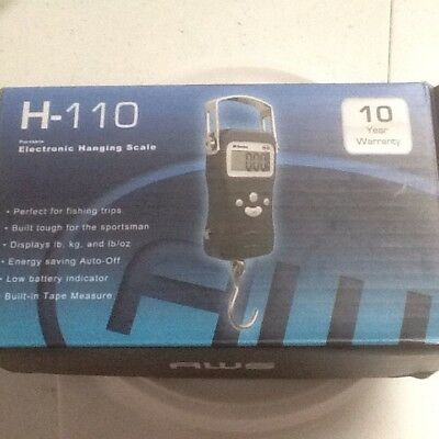 AWS H-110 Digital Hanging Scale 110lbs x 1oz Luggage Fishing Tape Measure 50kg
