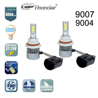 2x 9007 9004 HB5 CREE COB LED Headlight Kit Hi/Lo Power Bulbs 6000K HID