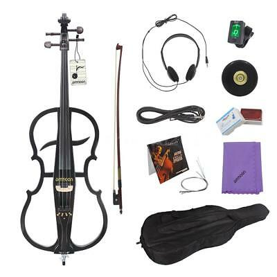 4/4 Electric Cello Violoncello Ebony Fittings +Tuner Headphone Gig Bag H0S7