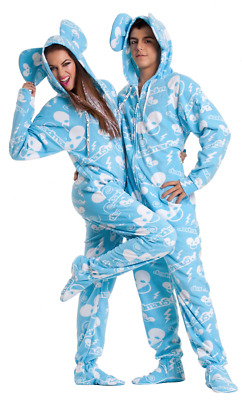Unisex Baby Blue & White DeadMau5 Polar Fleece Adult Sized Footed Hoodie Pajamas
