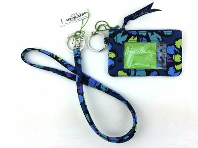 New with tags Vera Bradley Zip ID Case and Lanyard in Indigo Pop