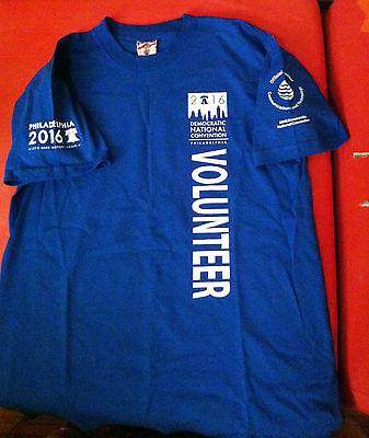 New Democratic Convention Volunteer Shirt Philly 2016 Blue 2-Sided Cotton Sz Lg