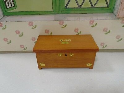 American Girl Angelina Ballerina Wooden Hinged Hope Chest with Painted Flowers