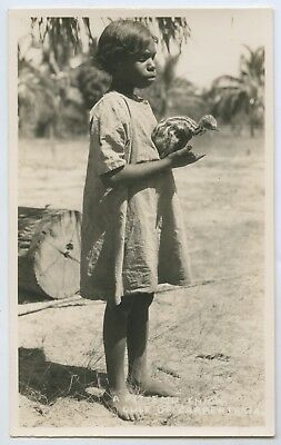 1930's Rp Postcard Aboriginal Mission Girl/emu Chick Gulf Of Carpentaria S66