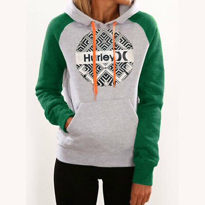 New Hurley Geometric Printed Hooded Women's Casual Hoodie Top Sweatshirt
