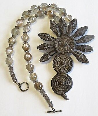 Ethnic Design Necklace/ Gan, Lobi Bronze 10 Head Snake Pendant/Quartz Beads