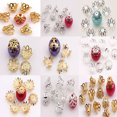 200Pcs 12 Style Filigree Flower Cone End Bead Caps Jewelry Findings Crafts DIY