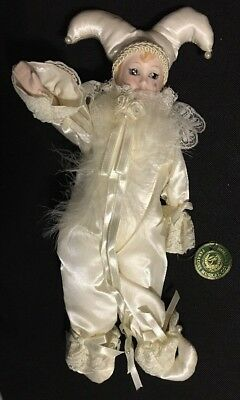 NEW Paradies Porcelain Jester Mardi Gras Harlequin Clown Wind Up Musical Doll