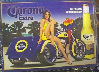"Corona Extra Beer metal sign Motorcycle Model Parrot ""Miles Away from Ordinary"""