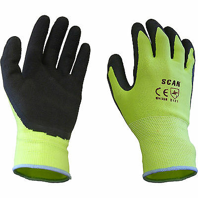 Scan Mens Foam Latex Coated Gloves Yellow XL