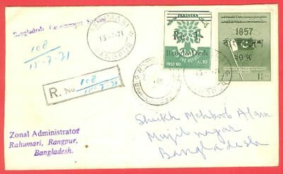 Pakistan Press Overprint BANGLADESH Re-valued on Liberation Registered cover