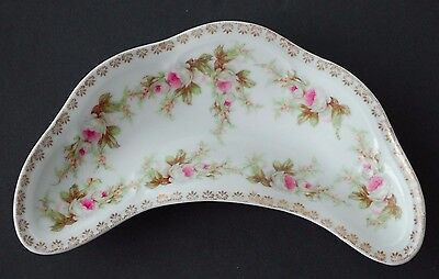 Austrian Mini Eden Spray Roses Gold Filagree Kidney Shaped Celery Dish -1940's