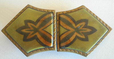 lovely art deco era belt buckle porcelain & brass Made in Germany