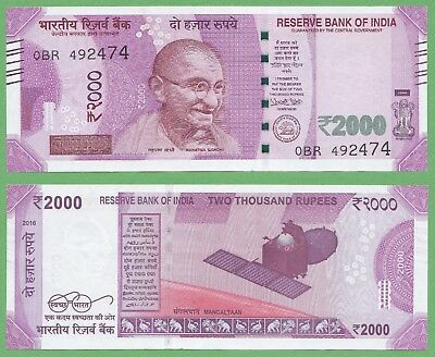 Indian 2000 Rupees issued 2016 Ref. NEW 2016- Sig.Urujit Patel XF+++