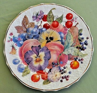 Fenton Bone China Staffordshire 27cm Floral & Fruits Design Plate