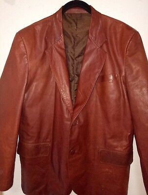 Men's Vintage Brown/Red Leather Jacket Approximately Size Medium 46""
