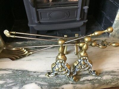 Solid brass pair Fire dogs and matching 3 piece companion set