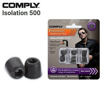 Comply Foam TX-500 Isolation + WaxGuard 3 Pairs Earphone Tips Medium Black TM