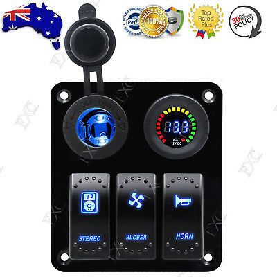 12V 24V 3 Gang LED Rocker Switch Control Panel Circuit Breakers for Boat Marine