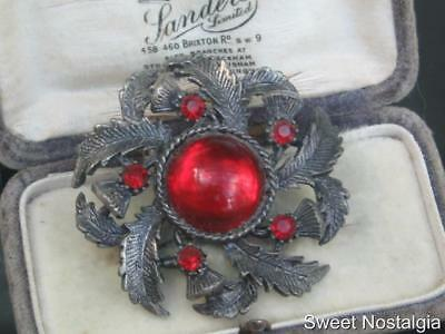 Lovely Vintage 60/70's Rich Red Cabochon Glass Scottish Thistle Designed Brooch