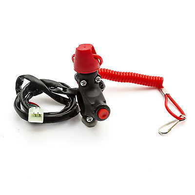 Teather Cut Off  Out Engine Kill Switch Lanyard Quad Buggy Dirt Bike Mini Moto