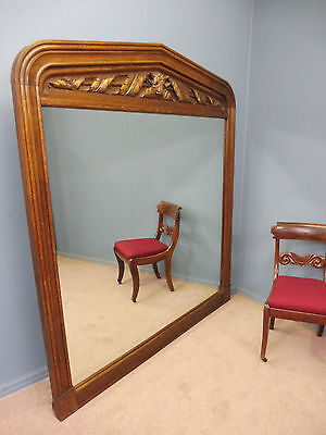 Very Large Antique Oak 19Th Century Mirror With Carved Bulls Frame