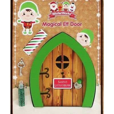 Christmas elf fairy door postbox dust ladder wreath for Fairy door with key