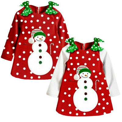 USA Christmas Toddler Girls Kids Snowman Dot Xmas Party Dress Sundress Clothes
