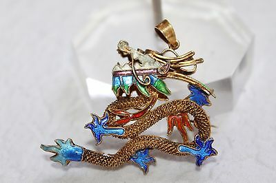 Chinese Antique GOLD on STERLING Silver Guilloche ENAMEL Dragon Brooch Pendant