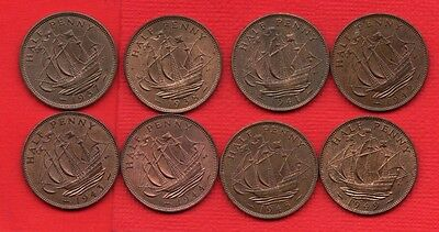 8 X Different George Vi Ship Halfpenny Coins Dated 1937 - 1949, High Grade.