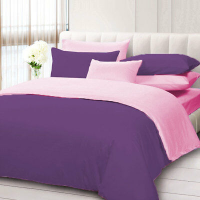 Egyptian Cotton 1000 TC Solid Reversible Duvet Set with Fitted All Size & Color