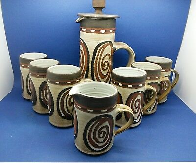 Briglin Pottery Coffee set with 6 Mugs & Coffee Pot plus Cream/Milk Jug