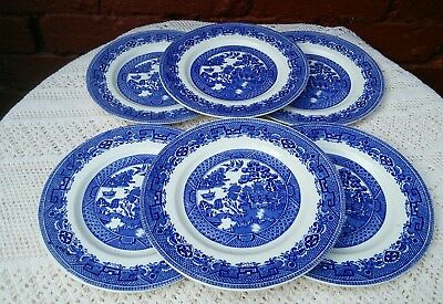 Alfred Meakin Old Willow Pattern Set of 6 DESSERT PLATES Vintage Blue White
