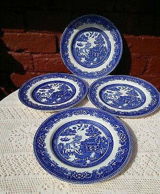 "Alfred Meakin Old Willow Pattern Set of 4 DINNER PLATES 10"" Vintage Blue White"