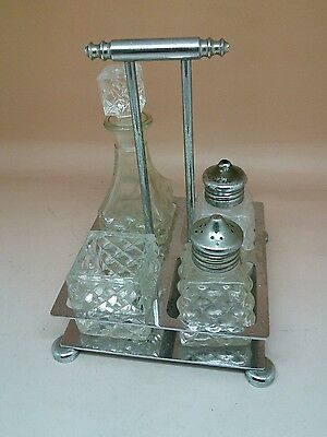 Old Art Deco 4 PIECE GLASS CONDIMENT CRUET SET & CHROME STAND