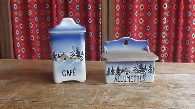 Vintage Pair of Pottery Canisters / Containers Urbach Freres Cafè & Allumettes