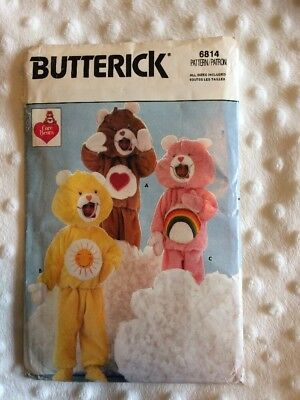 Vintage Care Bears Butterick Costume Clothes Pattern 6814 - Excellent Item!! ❤️